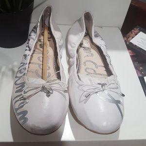 Sam Edelman White Ballet with Bow Flats 7.5